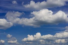 Clouds blue sky enviroment sunny spring summer day. Outside in summer stock photography