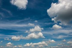 Clouds blue sky enviroment sunny spring summer day. Outside in summer stock photo