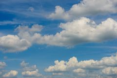 Clouds blue sky enviroment sunny spring summer day. Outside in summer royalty free stock photography
