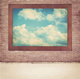 Clouds, blue sky in old wooden frame hanging on Royalty Free Stock Images