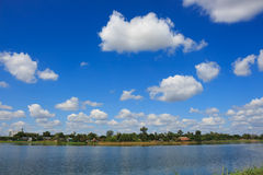 Clouds in blue sky over on park Royalty Free Stock Photography