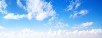 Clouds in blue sky, panoramic background Royalty Free Stock Images