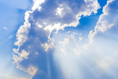 Clouds in the blue sky ray light. Stock Images