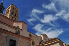 Clouds and blue sky San Martrin church. Segovia Royalty Free Stock Images