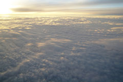 Clouds and blue sky seen from plane Stock Images