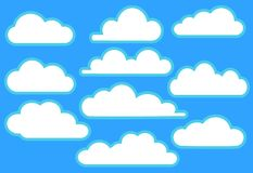 Clouds in blue sky set vector illustration Royalty Free Stock Image