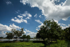 Clouds and blue sky. On shiny day Royalty Free Stock Photo