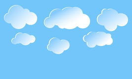 Clouds in a blue sky. Sky background. Vector blue background with snowflakes vector illustration