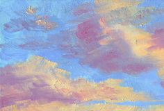 Clouds in the blue sky at sunset. Hand drawn artistic background. Clouds in the blue sky at sunset. Orange and pink tones. Oil painting Royalty Free Stock Images