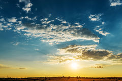 Clouds and blue sky in sunset Stock Photos