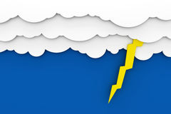 Clouds on blue sky with thunder bolt Stock Photos