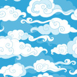 Clouds on blue sky. Traditional oriental ornament. Vector seamless pattern Stock Photography