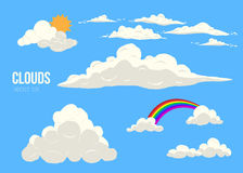Clouds on blue sky vector set isolated. cartoon cloudscape with different types, sun and rainbow Stock Photography
