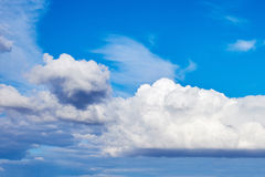 Clouds blue sky. White cumulus clouds in the blue sky Royalty Free Stock Photo