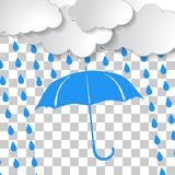 Clouds with blue umbrella and rain drops. On chequered background vector illustration