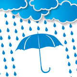 Clouds with blue umbrella and rain drops. On a white background vector illustration
