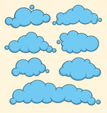 Clouds blue vector set. Royalty Free Stock Images