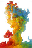 Clouds of bright colorful ink Royalty Free Stock Photo