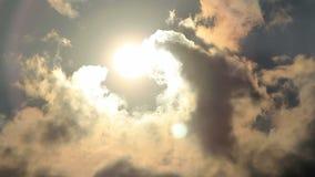 Clouds in bright sun light stock video
