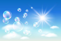 Clouds and bubbles royalty free illustration