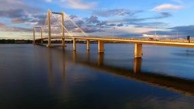 Clouds Cable Bridge Intercity Columbia River Kennewick Pasco Washington stock video