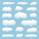 Clouds. Cartoon clouds against blue sky Stock Illustration