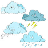 Clouds cartoon characters. Set of clouds. Weather. Stock Photography