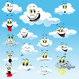 Clouds with Cartoon Faces. Collection of clouds with cartoon faces with many different expressions in a blue sky stock illustration