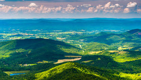 Clouds cast shadows over the Appalachian Mountains and Shenandoah Valley in Shenandoah National Park Stock Image