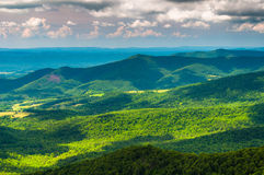 Clouds cast shadows over the Appalachian Mountains and Shenandoah Valley in Shenandoah National Park Royalty Free Stock Images