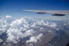 Clouds and changjiang river photo taken in a airplane Royalty Free Stock Photo