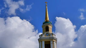 Clouds and church steeple temple stock video footage