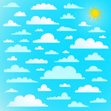 Clouds collection on blue sky with sun Royalty Free Stock Image