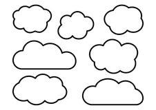 Clouds collection, outline design. Vector illustration stock illustration