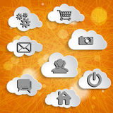 Clouds collection with social networks icons on the ora Stock Photo
