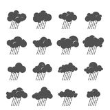 Clouds collection. Vector cloud icon set. Cloud symbol collection. Grayscale clouds with rain. Design for web and print. Atmosphere pictogram. Silhouette of Royalty Free Stock Images
