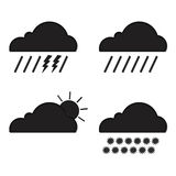 Clouds collection. Weather icons set. Web elements Stock Photography
