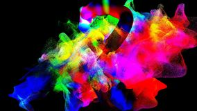 Clouds of colorful smoke in the dark, 3d illustration. 3d illustration on the abstract theme of beautiful particles Stock Photography