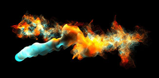 Clouds of colorful smoke in the dark, 3d illustration. 3d illustration on the abstract theme of beautiful particles Royalty Free Stock Photos