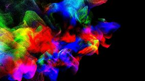 Clouds of colorful smoke in the dark, 3d illustration. 3d illustration on the abstract theme of beautiful particles Royalty Free Stock Images