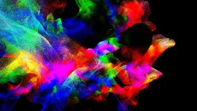 Clouds of colorful smoke in the dark, 3d illustration. 3d illustration on the abstract theme of beautiful particles Royalty Free Stock Photography