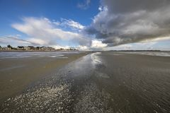 Clouds coming from the sea to Le Crotoy, France stock images
