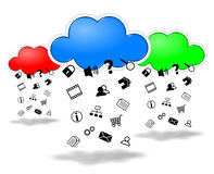 Clouds computing competition concept illustration Stock Photo