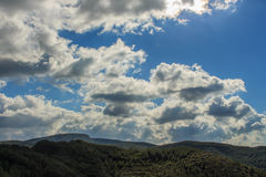 Clouds cover the blue sky and dye it white.  royalty free stock photo