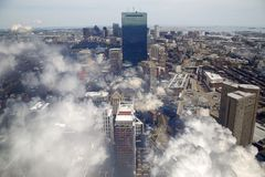 Clouds cover downtown of city Boston Stock Images