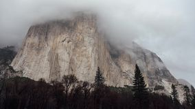 Clouds cover El Capitan stock video footage