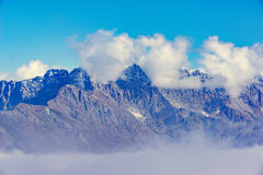 Clouds cover the mountain tops. Stock Photos