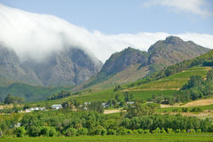 Clouds cover mountains in Stellenbosch wine region, outside of  Cape Town, South Africa Royalty Free Stock Photos