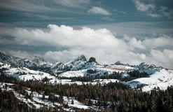 The clouds cover the peaks rising above the Sierra range near Kirkwood. California royalty free stock image