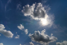 Clouds cover the sky. Clouds obscured the sun.Sky after rain Royalty Free Stock Images
